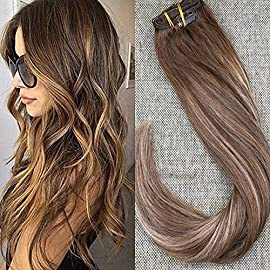Full Shine 9 Pcs Balayage Clip In Hair Extensions Brazilian Human Hair Clips 12-24 Inch Straight Hair Extensions Clip On hair 100 Gram Double Weft Clip In Hair