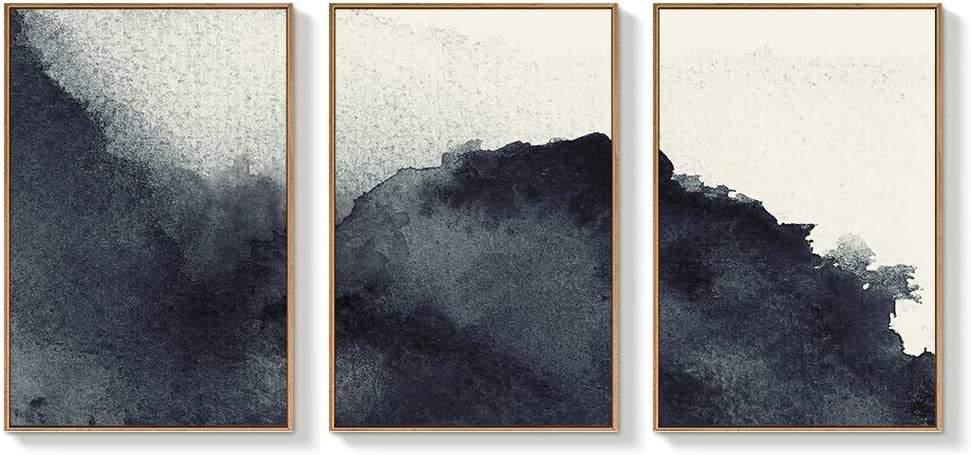 """NWT Framed Canvas Wall Art for Living Room, Bedroom Abstract Zen Canvas Prints for Home Decoration Ready to Hanging - 16""""x24""""x3 Panels"""