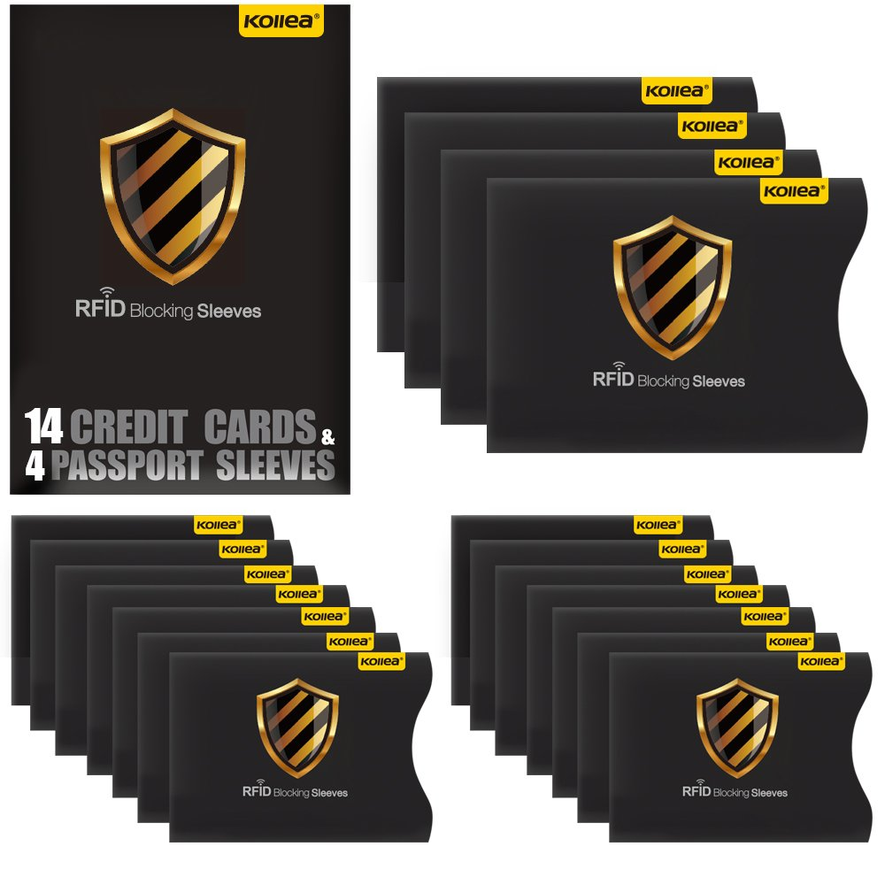Best rated in index card files business card files helpful kollea 18 pieces set rfid blocking sleeves 14 credit card holders 4 passport protectors magicingreecefo Choice Image
