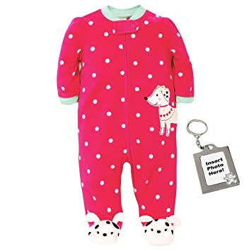 38231d50cb Image Unavailable. Image not available for. Color  Little Me Dalmatian  Blanket Sleeper Footie Fuchsia Red Polka Dot Pajamas- 18M