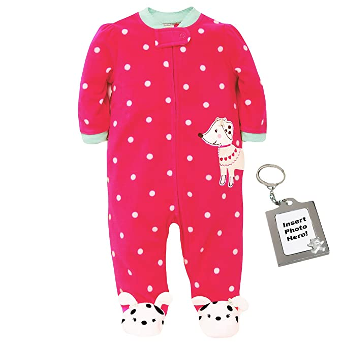 Little Me Dalmatian Polka Dot Blanket Sleeper Footie Puppy Dog Feet - Pink - 3M
