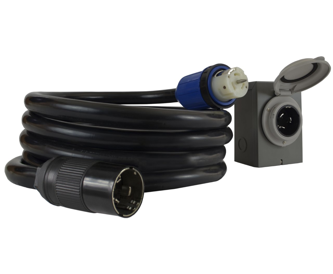 Conntek GIBSS2-015 50 Amp Duo-RainSeal Kit Locking Temporary Generator Power Cord with Inlet Box, 15' by Conntek