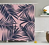 Ambesonne Navy and Blush Shower Curtain, Summer Exotic Floral Tropical Palm Tree Leaf Banana Plant Hawaii, Fabric Bathroom Decor Set with Hooks, 75 inches Long, Night Blue Pale Pink
