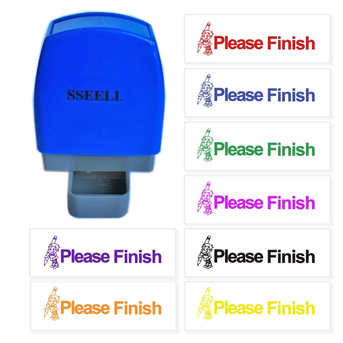 SSEELL Please Finish Reward Stamp Self Inking for School Student Teacher Homework Feedback Stamp Rubber Flash Stamp Self-Inking Pre-Inked RE-inkable School Stationary - Purple Ink Color