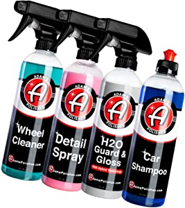 Adam's Most Popular Car Detailing Kit - Car Wash & Cleaning Kit | Our Top Selling Products Bundled | Car Wash Soap Shampoo, Detail Spray Car Wax Quick Detailer, Wheel Cleaner Paint Sealant Top Coat