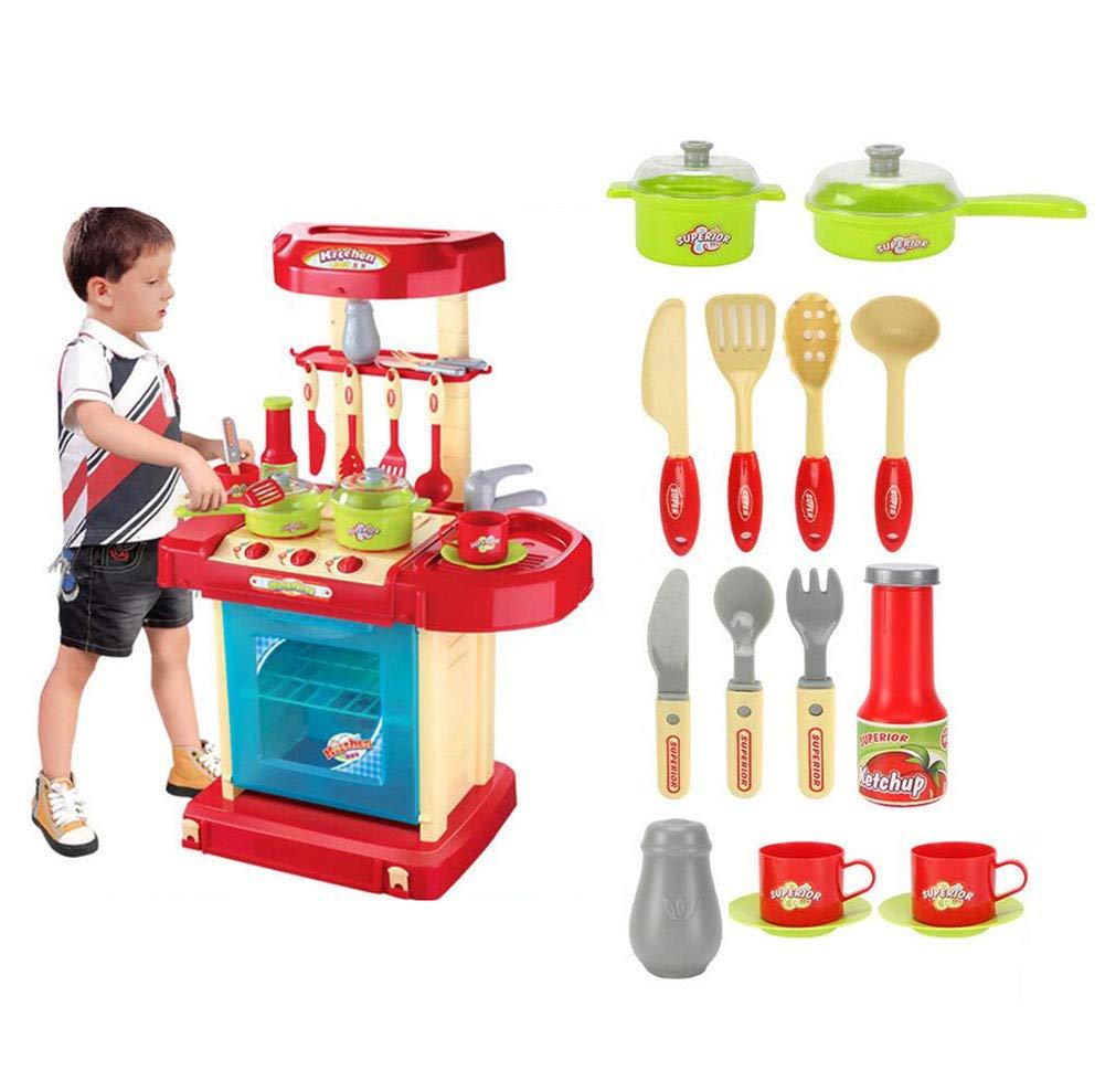 FJY Kinderküche Spielküche Kinderspielküche Spielzeugküche Mit Licht Und Sound,Gourmet Deluxe Spielzeug, Kinderkoffer,ROT