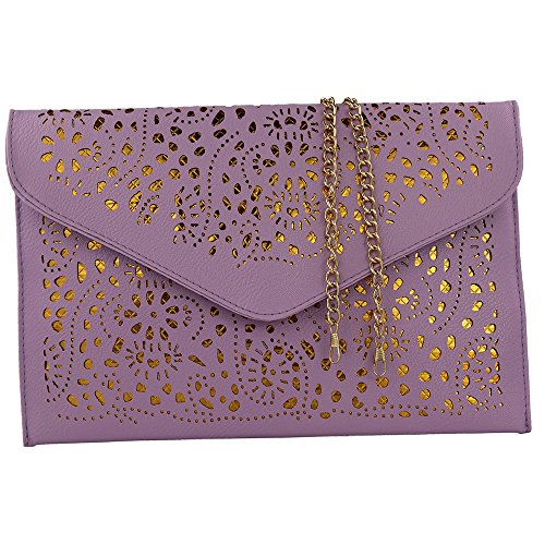 Women Perforated Cut Out Pattern Gold Accent Background Chain Pouch Fashion Clutch Handbag Wedding Party Purses Envelope Evening Day Clutch Bag For Women Ladies 2018 (Taro Purple) ()