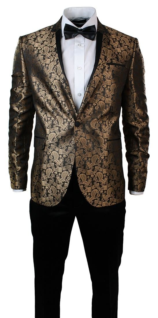 Warthel Mens Slim Fit Gold Black Paisley Suit Tuxedo Wedding Party Shiny gold 46