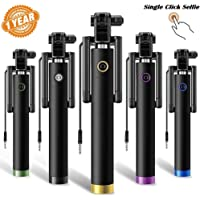 Drumstone Locust Series Pocket Sized Selfie Stick Monopod with AUX Selfi Stick Suitable with All Android or iPhone Devices (Color May Vary)