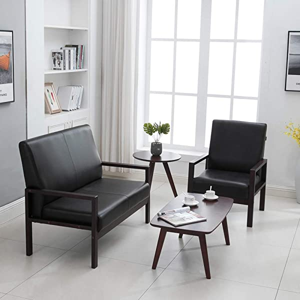 Krei Hejmo Wooden Armchairs Sofa Couch Vinyl Leather (Loveseat, Dark Brown Wood/Dark Espresso Upholstery)