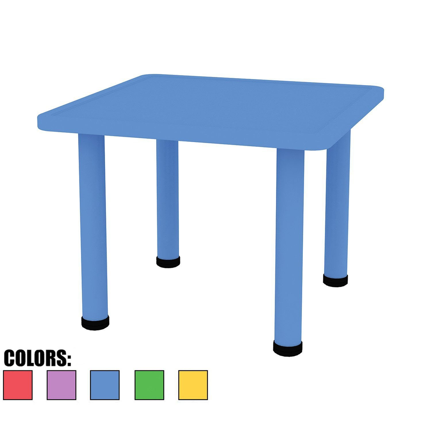 "2xhome – Blue – Kids Table – Height Adjustable 21.5 inches to 22.5 inches - Square Shaped Plastic Activity table With Metal legs for Preschool School Learn Play 24"" x 24"""