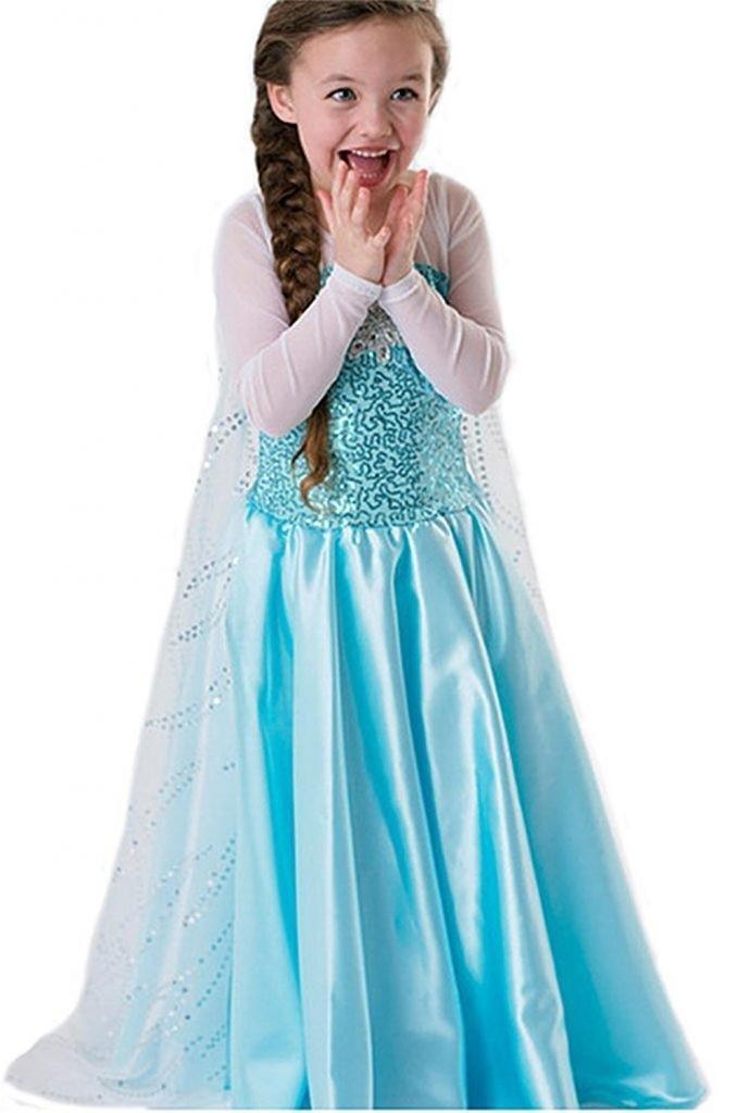 NICE SPORT Robe Princesse Reine des Neiges Frozen - Costume Enfant Fille - Princesse Elsa - Déguisement Haute Qualité - Bleu (130 cm (5-6 ans)) product image