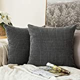 MIULEE Set of 2 Corduroy Soft Big Corn Solid Decorative Square Throw Pillow Covers Cushion Case For Sofa Bedroom Car 50 x 50 cm 20 x 20 Inch Grey