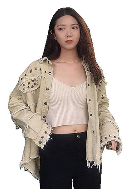 Mujer Denim Chaquetas Elegantes Moda Vintage Ocasional Hipster Moderno Modernas Casual Outerwear Otoño Primavera Boyfriend Vaqueras Jacket Manga Larga De ...