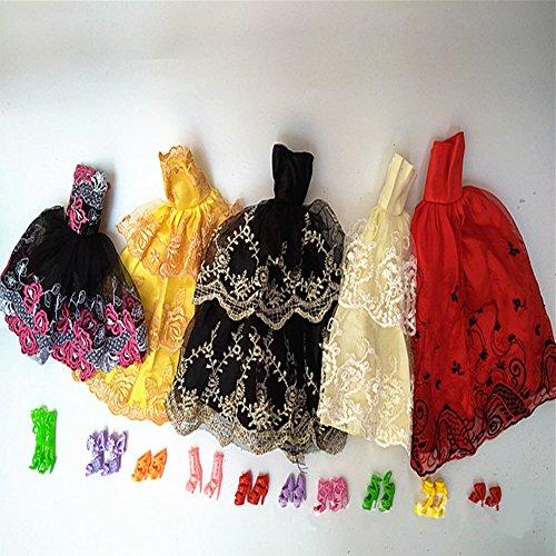 Ocamo Conjunto de Ropa para muñecas de 5 Piezas,Vestido Formal + 10 Pares de Tacones Altos para 30 cm Muñeca Alta