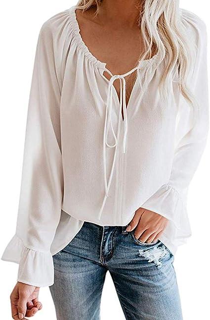Vectry Para Mujer Fuera del Hombro Remata Manga Larga De Campana Acampanada Casual Blusas Sueltas Camisas Elegante Camisa Casual 2019 Mujer Blusa Primavera Y Otoño: Amazon.es: Ropa y accesorios
