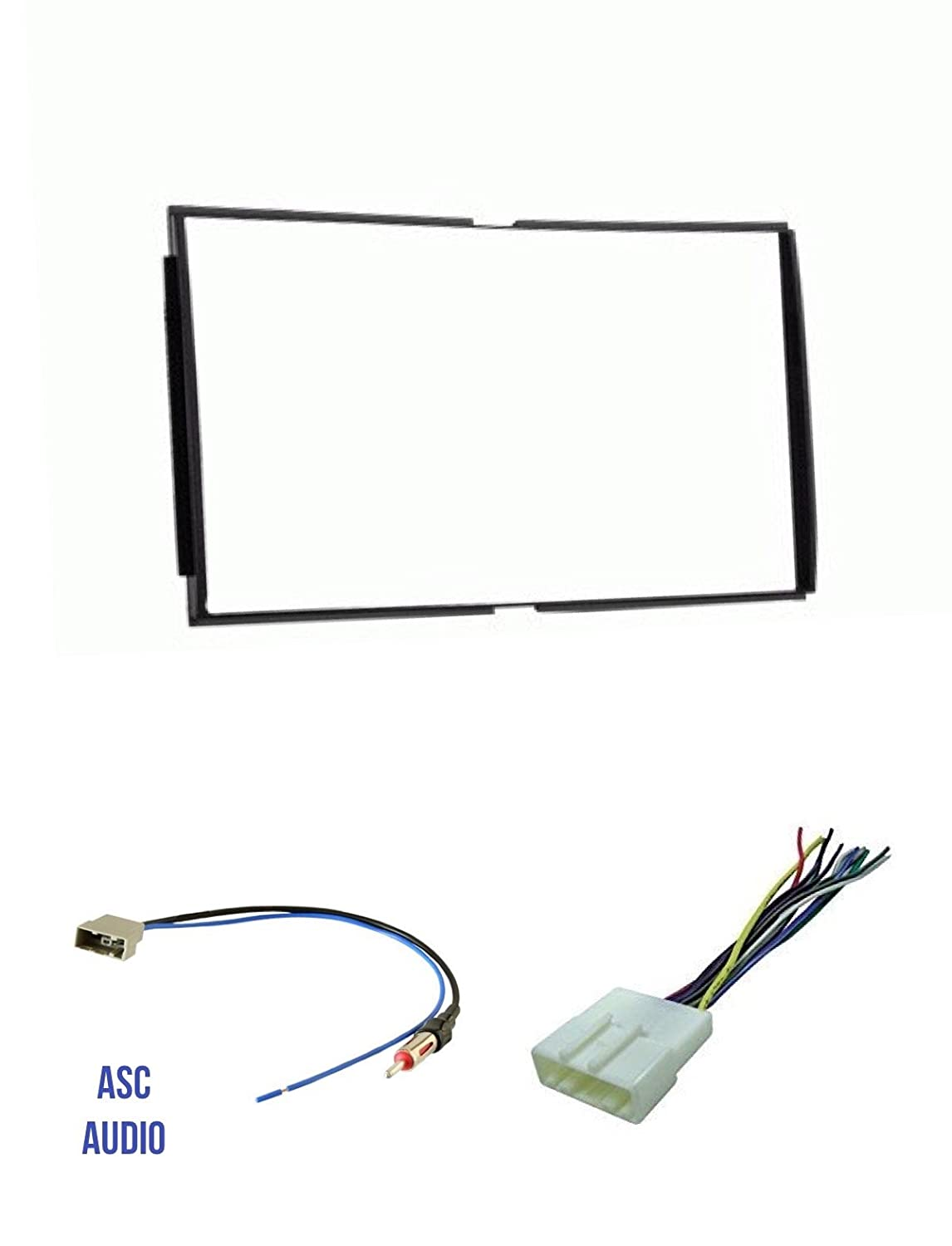 Wire Harness ASC Car Stereo Install Dash Kit without pocket door above radio and Antenna Adapter for installing a Double Din Aftermarket Radio for 2007 2008 2009 2010 2011 2012 Nissan Sentra