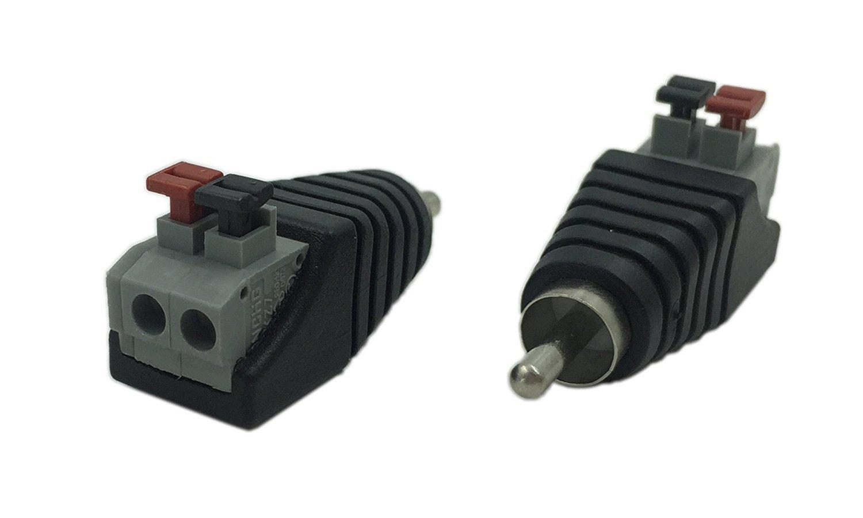 Vimmor Altavoz Phono RCA Macho a 2 Tira de Terminal de Tornillo Audio Video Pulsador Tipo Balum Conector Adaptador para Multimedia y CCTV 10 Pack