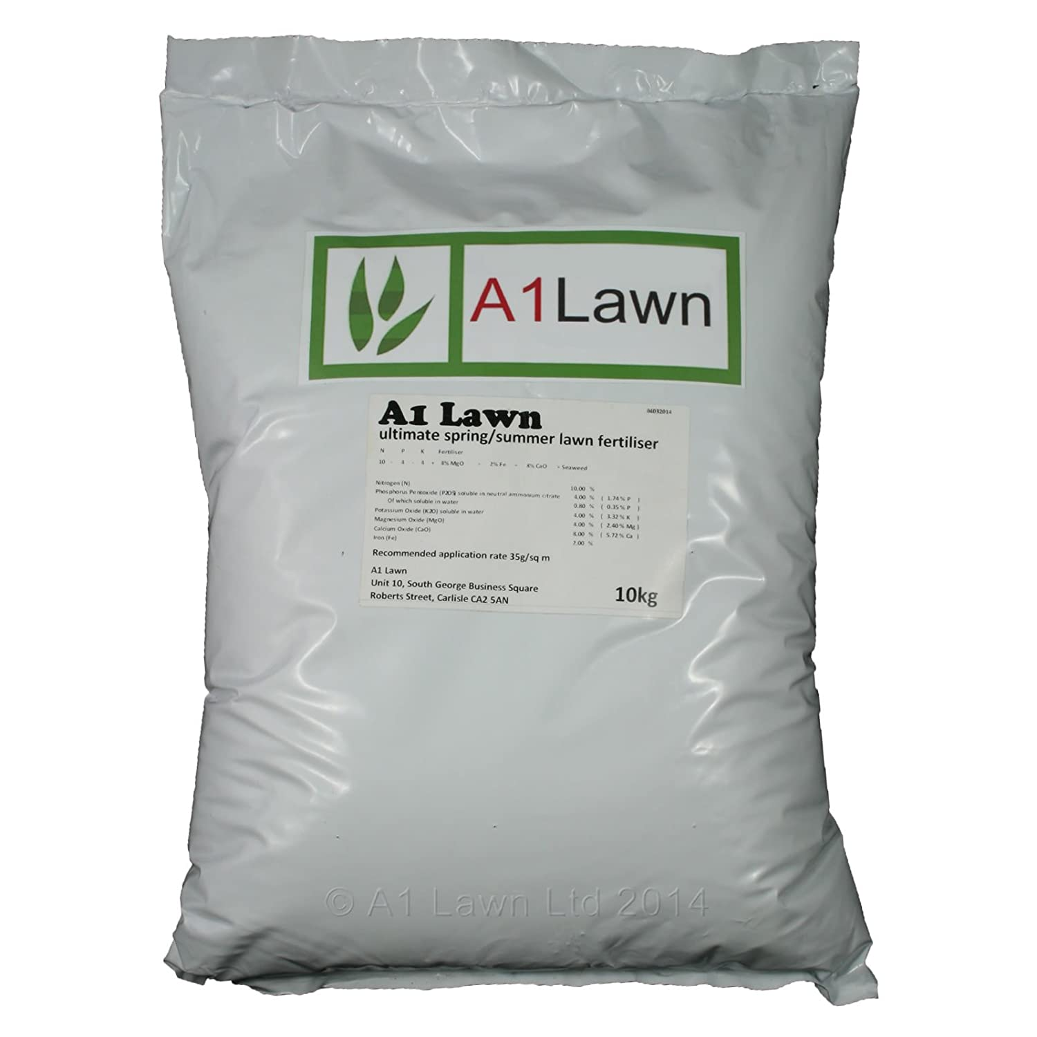 10kg A1LAWN ULTIMATE SPRING/SUMMER LAWN FERTILISER (10-8-4+4MgO+2Fe+8CaO+Seaweed) - 285 Sq Metres