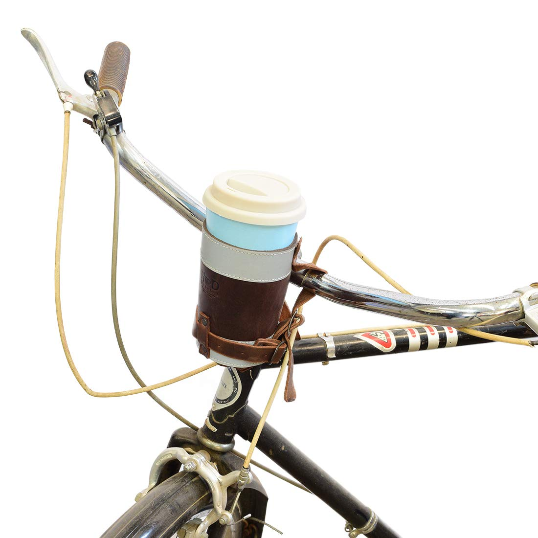 Hide & Drink, Cruzy Leather Reflective Bike Cup Holder/Reflective Cup Holder/Reflective Tumbler Holder, Handmade :: Bourbon Brown