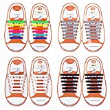 Talent Fashion Kids/Adults Tieless Elastic Silicone No Tie Shoelaces Waterproof Rubber Flat Running Shoe Laces for Sneakers Board Shoes Casual Shoes and Boots