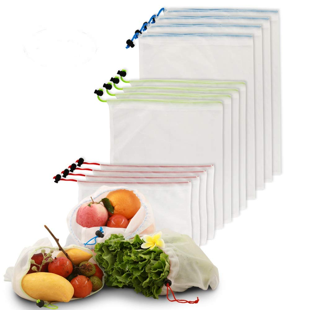 Reusable Mesh Produce Bags, Eco Friendly Grocery Shopping & Storage Bags For Fruit Vegetables,Garden Produce,Machine Washable set of 12 with by Best buy tool by Best Buy Tools