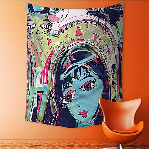 Wall Decor Tapestries Art Funk Style Avatar Woman with Cat on Head Unusual Human Art Tapestry Coverlet Curtain 60W x 80L Inch -