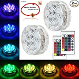 Underwater Submersible LED Lights Waterproof Multi Color Battery Operated Remote Control Wireless 10-LED Reusable light for Party,Vase Base,Wedding,Christmas,Aquarium,Pond,IP68 Submersible Light 2pack