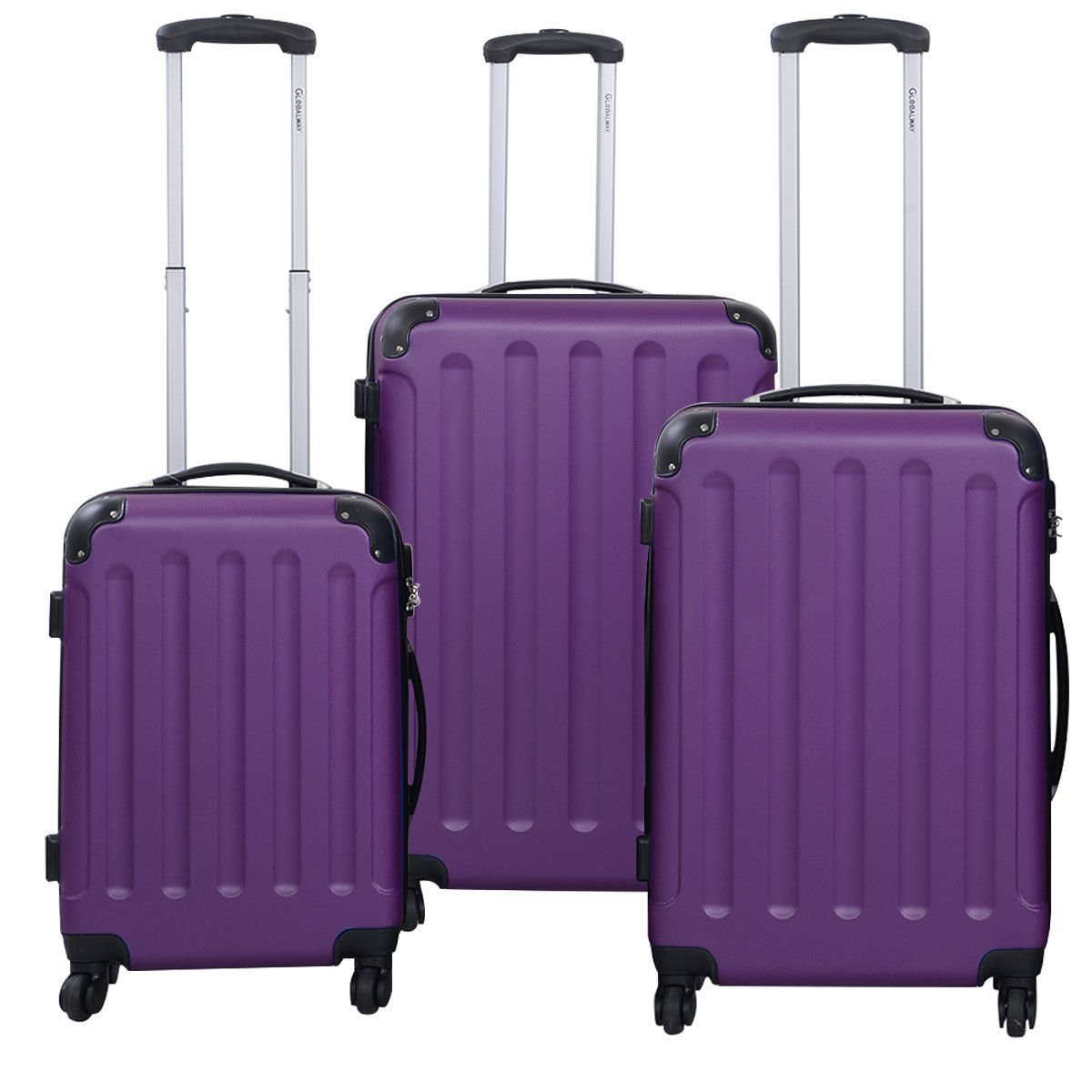 3 Pcs Luggage Travel Set Bag ABS+PC Trolley Suitcase Purple