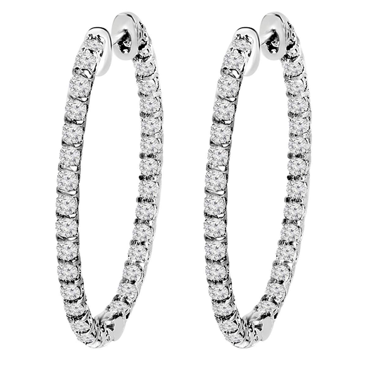 14K White Gold 1.00 Ct Round Cut Simulated Diamond Inside Out Hoop Earrings