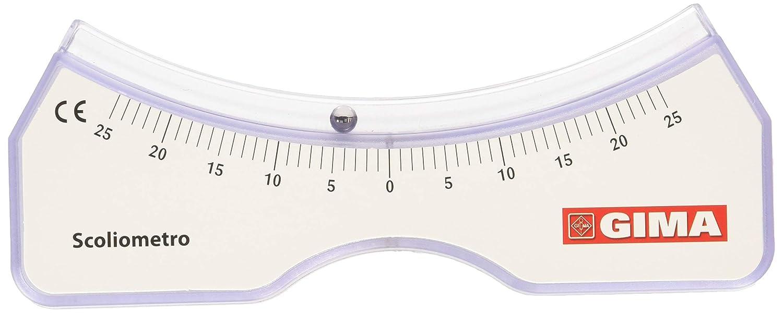 GIMA ref 27351 Escoliómetro para la evaluación de escoliosis, instrumento médico para detectar la presencia y la entidad de la giba costal basado en el principio del nivel, medición en grados.