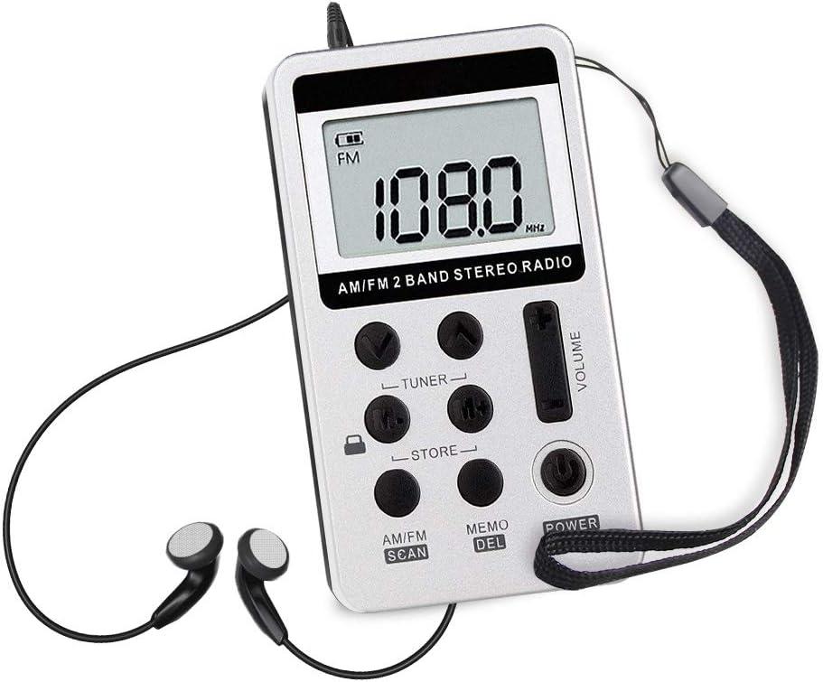 Mini Radio Portatil Pequeña Digital Radio de Bolsillo FM/Am Estéreo DSP Digital Tuning Receptor USB Recargable y Auriculares, para Correr Caminar Senderismo casa Cocina, Regalo para Padre Madre