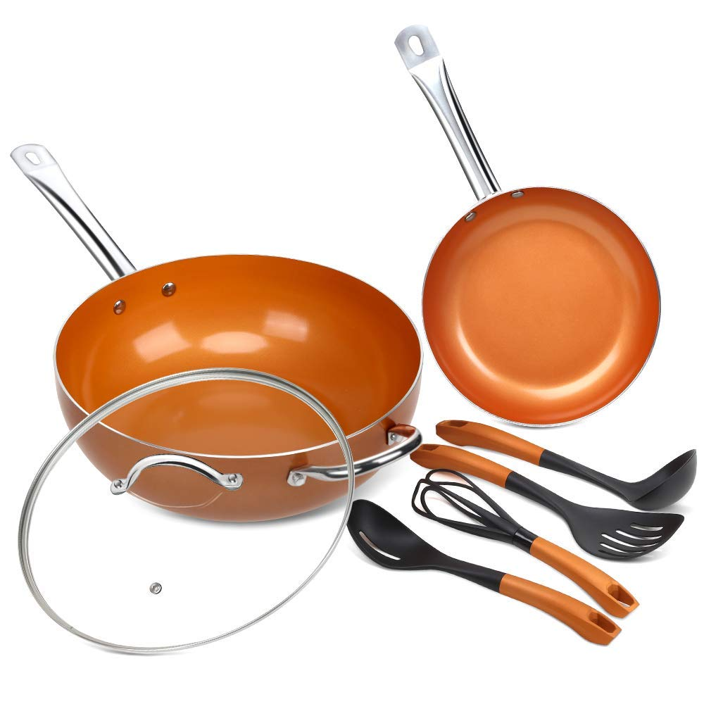 DUKE'S HOME 7-Pcs Nonstick Ceramic Cookware Set Copper Non-stick Fry Pans and Cooking Utensil Set Induction Kitchenware Set with 12'' Saute Pan, 9.5'' Skillet Pan and 4-Pcs Silicone Kitchen Utensils Set