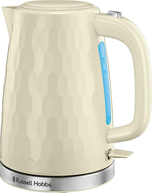 Russell Hobbs 26052 Cordless Electric Kettle Contemporary Honeycomb Design with Fast Boil and Boil Dry Protection, 1.7 Litre, 3000 W, Cream