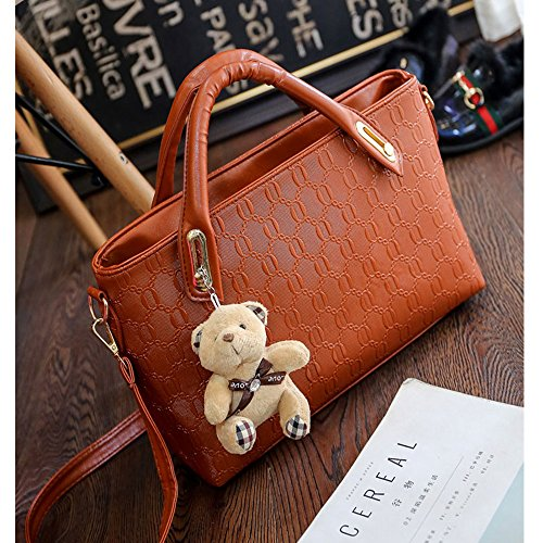 Large Bag Satchel Handbag Set 4Pcs PU Hobo FiveloveTwo Tote Leather Brown Handle Holder Card Shoulder Purse Yellow Top Women Ivqxz86S