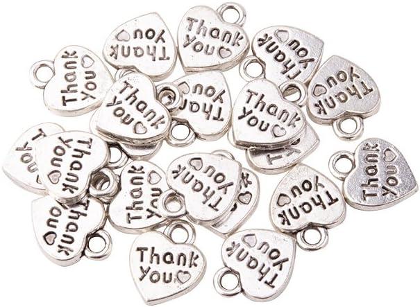 12 x LOVE Heart Alloy Valentine Charm Pendant Bead Jewellery component Wedding