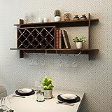 Custpromo Wall Mount Wine Rack with Glass Holder & Storage Shelf (Walnut)