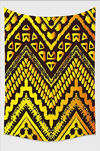Stripes Hand Painted Wall Letters (Nalahome-Tribal Hand Drawn Painted Ethnic Pattern with Zig Zag and Stripes African Geometric Art Yellow Black Tapestry Wall Hanging Wall Tapestries 59L x 51.1W Inches)