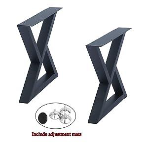 "Weven Industrial Metal Modern 2 Pcs (H15.5"" x W17.5"") Furniture Legs Rustic Decory Triangle Shape Table Legs,Heavy Duty Metal Desk Legs,Dining Table Legs,DIY Cast Iron Bench Legs,Black"