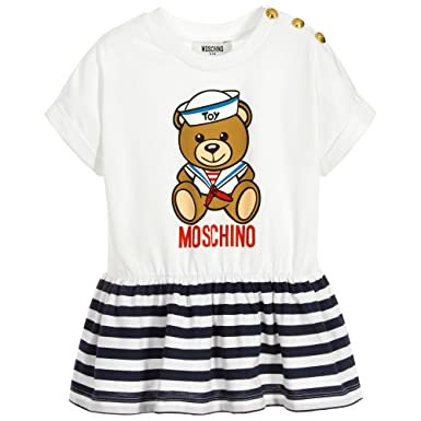 c20a5be54dcb85 Moschino T-Shirt Bianca con Orsertto e Righe blu: Amazon.co.uk: Clothing