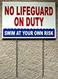 1 Pc Indefectible Popular No Lifeguard Duty Sign Risk Beach Plastic Printed Outdoor Declare Size 8'' x 12'' with Stake