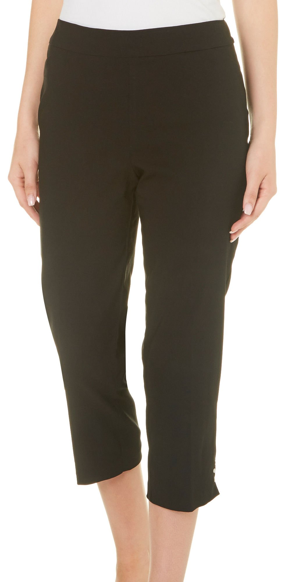 Counterparts Petite Pull-On Button Hem Capris 14P Black