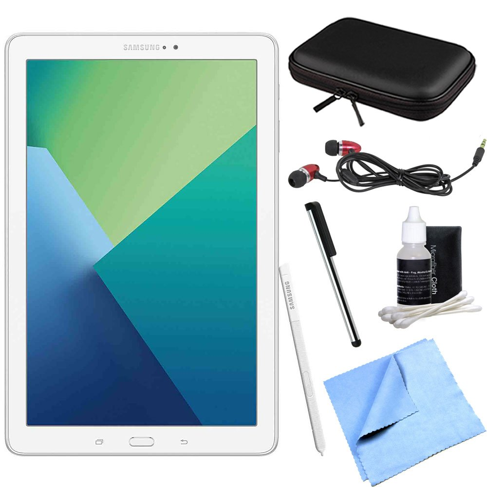 Samsung Galaxy Tab A 10.1 Tablet PC White w/ S Pen Bundle includes Tablet, Microfiber Cloth, Cleaning Kit, Stylus Pen with Clip, Protective Neoprene Sleeve and Metal Ear Buds by Samsung