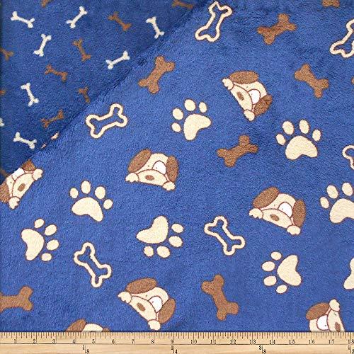 Mook Fabrics USA LP Plush Fleece 2 Sided Dogs/Bones Fabric, 1, Blue, Fabric by the Yard