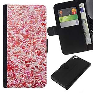 WINCASE Cuadro Funda Voltear Cuero Ranura Tarjetas TPU Carcasas Protectora Cover Case Para HTC Desire 820 - amor caliente patrón blanco rojo