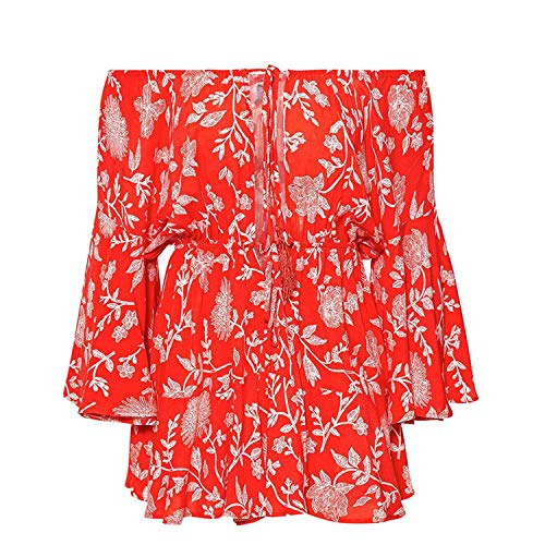 Off Shoulder Yellow Sexy Playsuits Women Big Flare Sleeve red Jumpsuits Lace Up Romper,Red-2,M ()