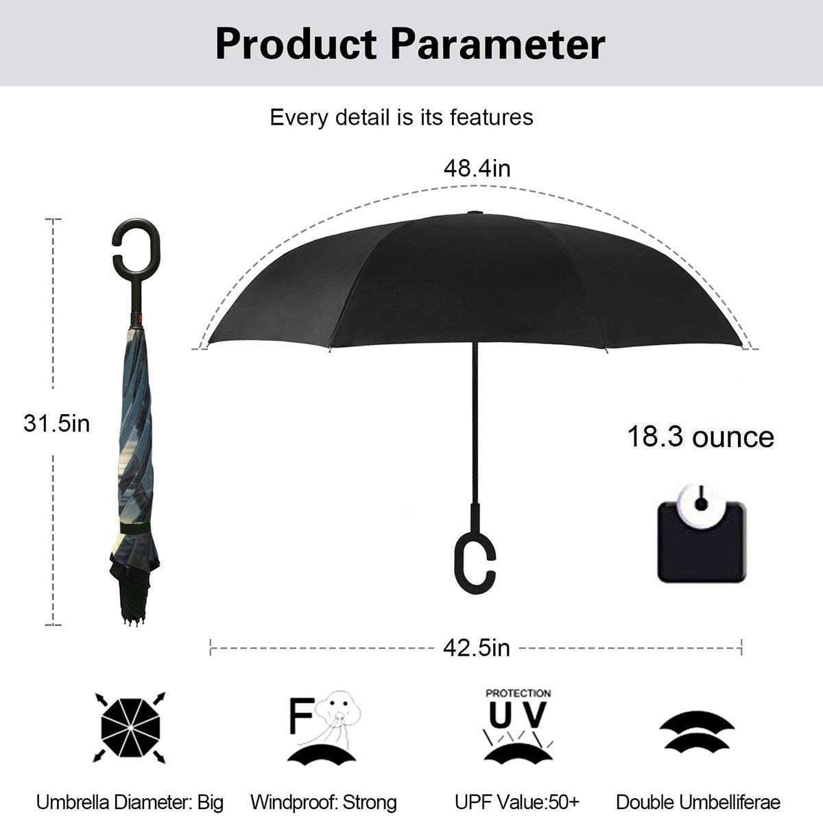 Windproof And Rainproof Double Folding Inverted Umbrella With C-Shaped Handle UV Protection Inverted Folding Umbrellas Sci-fi Movie Mandalorian Car Reverse Umbrella