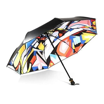 Paraguas plegable automatico Mujer niño Hombre an- Sombrilla Creativa Three Fold Trend - Protección Solar
