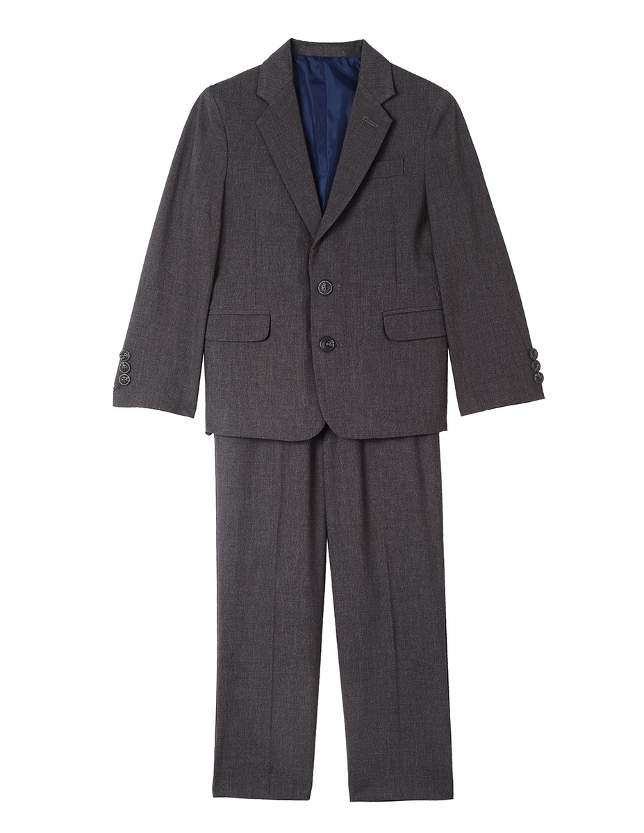 Nautica Boys' Big Two Piece Suit Set with Hemmed Pants, Charcoal Heather, 8