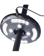 CHINLY Luces de parasoles de patio recargables 24 LED atenuación de nivel - 4 pilas AA de x, paraguas de carga Luz de poste para sombrillas de patio, uso en exteriores o tiendas de campaña (blanco)